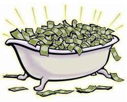 Полная денег ванна