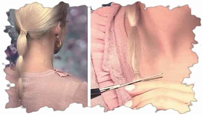 Процесс подстригания концов волос
